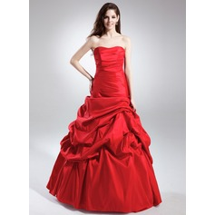 A-Line/Princess Sweetheart Floor-Length Taffeta Quinceanera Dress With Ruffle