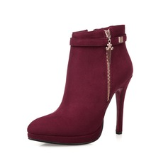 Women's Suede Stiletto Heel Pumps Closed Toe Ankle Boots With Zipper shoes