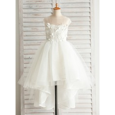 A-Line/Princess Asymmetrical Flower Girl Dress - Satin/Tulle/Cotton Short Sleeves Bateau With Appliques/V Back