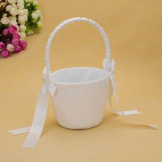 Ivory Flower Basket In Satin With  Ribbons (102025559)