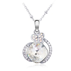 Beautiful Platinum Plated With Crystal Ladies' Necklaces