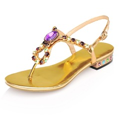 Patent Leather Flat Heel Sandals Flats With Rhinestone Crystal (087024953)