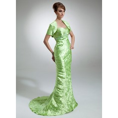 Trumpet/Mermaid Sweetheart Sweep Train Charmeuse Mother of the Bride Dress With Ruffle Beading