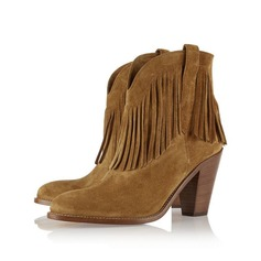 Women's Suede Chunky Heel Ankle Boots Martin Boots With Tassel shoes