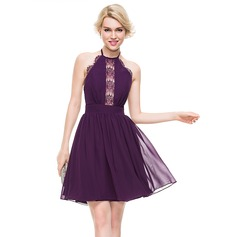 A-Line/Princess Halter Knee-Length Chiffon Homecoming Dress
