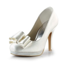 Women's Satin Cone Heel Closed Toe Platform Pumps With Bowknot