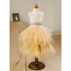 A-Line/Princess Knee-length Flower Girl Dress - Satin/Tulle Sleeveless Scoop Neck With Beading/Appliques/V Back