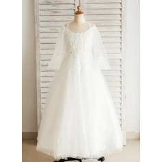 A-Line/Princess Floor-length Flower Girl Dress - Satin/Tulle/Lace Long Sleeves Scoop Neck With Appliques