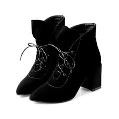 Real Leather Chunky Heel Platform Closed Toe Ankle Boots With Braided Strap shoes