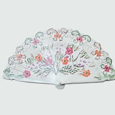 Floral Design Sandalwood/Cotton Hand fan