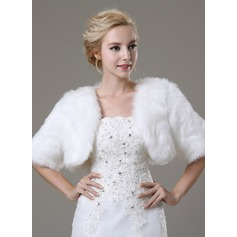 Half-Sleeve Faux Fur Fashion Wrap