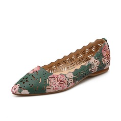 Leatherette Flat Heel Flats Closed Toe With Hollow-out Flower shoes