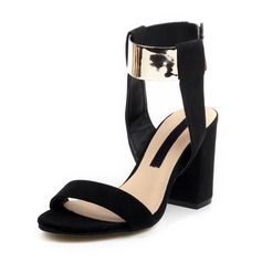 Women's Suede Chunky Heel Pumps With Buckle shoes