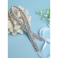Elegant Satin/Imitation Pearls Sash With Rhinestones/Imitation Pearls
