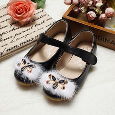 Girl's Leatherette Flat Heel Closed Toe Flats With Imitation Pearl Rhinestone (207095540)