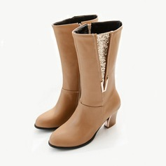 Women's Suede Leatherette Chunky Heel Mid-Calf Boots With Split Joint shoes