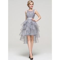A-Line/Princess Square Neckline Asymmetrical Organza Homecoming Dress With Beading