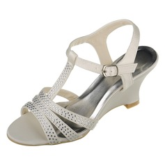 Women's Satin Wedge Heel Peep Toe Sandals Slingbacks Wedges With Buckle Rhinestone