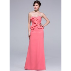Sheath/Column Sweetheart Floor-Length Chiffon Bridesmaid Dress With Cascading Ruffles
