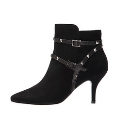 Women's Suede Stiletto Heel Closed Toe Boots Ankle Boots shoes
