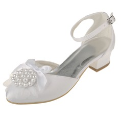 Women's Satin Chunky Heel Closed Toe Pumps With Imitation Pearl