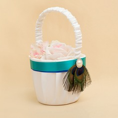 Elegant Flower Basket in Satin With Faux Pearl/Feather