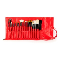 Natural Goat Hair/Pony Hair Utility 18Pcs Red Pouch Makeup Supply (046074588)