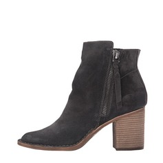 Women's Suede Chunky Heel With Zipper shoes
