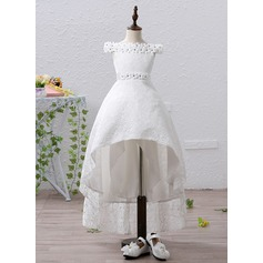 A-Line/Princess Asymmetrical Flower Girl Dress - Organza/Satin Short Sleeves Off-the-Shoulder With Flower(s)/Rhinestone