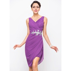 Sheath/Column V-neck Asymmetrical Chiffon Cocktail Dress With Ruffle Sequins