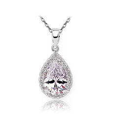 Elegant Copper/Zircon/Platinum Plated Ladies' Necklaces