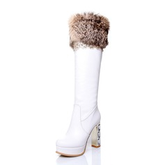 Leatherette Chunky Heel Knee High Boots With Fur shoes