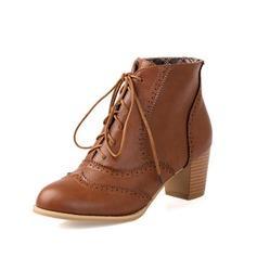 Leatherette Chunky Heel Ankle Boots With Lace-up shoes