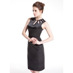 Sheath/Column Scoop Neck Knee-Length Charmeuse Cocktail Dress With Beading
