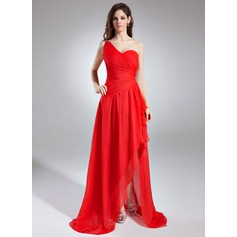 A-Line/Princess One-Shoulder Asymmetrical Chiffon Prom Dress With Ruffle Beading Cascading Ruffles