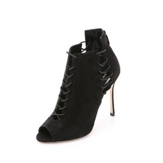 Women's Suede Stiletto Heel Ankle Boots With Braided Strap shoes