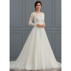 Ball-Gown Scoop Neck Sweep Train Tulle Wedding Dress (002127265)