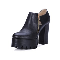 Women's Leatherette Chunky Heel Pumps Ankle Boots With Zipper shoes