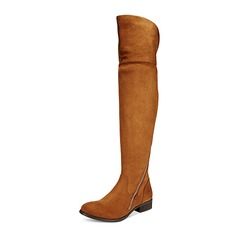 Women's Suede Low Heel Boots Knee High Boots shoes