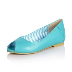 Leatherette Flat Heel Flats Peep Toe shoes