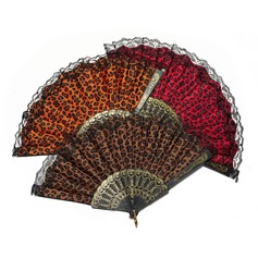 Leopard Design Plastic/Fabric Hand fan
