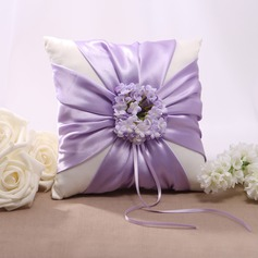Lilac Floral Design Satin Wedding Ring Pillow (103022565)
