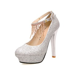 Leatherette Stiletto Heel Pumps Closed Toe With Tassel shoes
