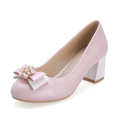 Leatherette Chunky Heel Pumps Closed Toe With Bowknot Imitation Pearl shoes