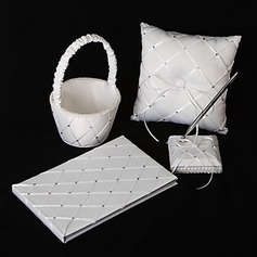 Diamond Grid Pattern White Satin Wedding Collection Set (4 Pieces)(100017976)