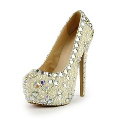 Patent Leather Stiletto Heel Pumps Platform Closed Toe With Rhinestone Imitation Pearl shoes