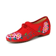 Women's Cloth Flat Heel Flats Closed Toe With Applique Button shoes