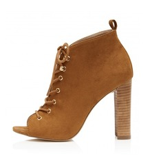Women's Suede Chunky Heel Peep Toe Ankle Boots With Braided Strap shoes