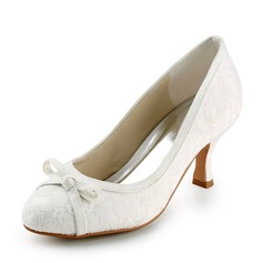 Lace Satin Spool Heel Closed Toe Pumps Wedding Shoes With Bowknot (047005740)