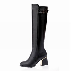 Women's Leatherette Chunky Heel Over The Knee Boots With Rhinestone shoes